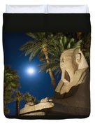 Sphinx And Date Palms With Full Moon Duvet Cover