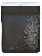 Spider Web Covered In Dew Drops Duvet Cover