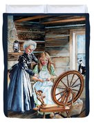 Spinning Wheel Lessons Duvet Cover by Hanne Lore Koehler