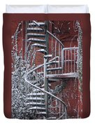 Spiral Staircase With Snow And Cooper's Hawk Duvet Cover