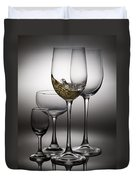 Splashing Wine In Wine Glasses Duvet Cover