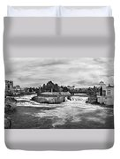 Spokane Falls From Lincoln Street Bridge In B And W Duvet Cover
