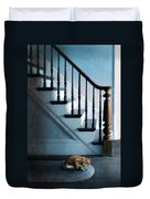 Spooked Cat By Stairs Duvet Cover