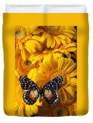 Spotted Butterfly On Yellow Mums Duvet Cover