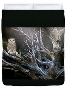 Spotted Owl In Tree Duvet Cover