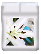 Square Lily On Blue Duvet Cover