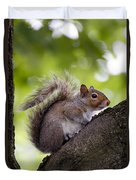 Squirrel Before Green Leaves Duvet Cover