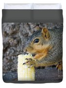 Squirrel Holding Corn Duvet Cover