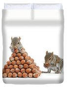 Squirrels And Nut Pyramid Duvet Cover