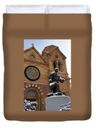 St Francis Cathedral In Santa Fe - Winter Duvet Cover