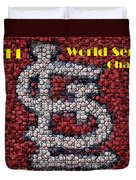 St. Louis Cardinals World Series Bottle Cap Mosaic Duvet Cover