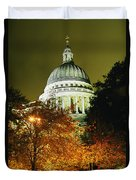 St Pauls Cathedral At Night With Trees Duvet Cover