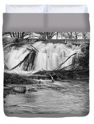 St Vrain River Waterfall Slow Flow Bw Duvet Cover