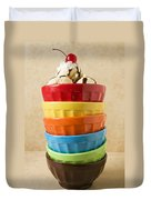 Stack Of Colored Bowls With Ice Cream On Top Duvet Cover