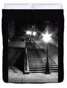 Stairway To Montmartre At Night Duvet Cover