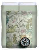 Star Map And Compass Duvet Cover