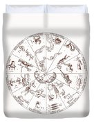 Star Map From Kirchers Oedipus Duvet Cover by Science Source