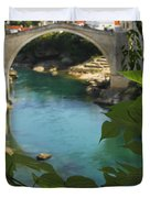 Stari Most Or Old Town Bridge Over The Duvet Cover