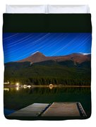 Starry Night Of Mountains And Lake Duvet Cover