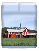 Stately Red Barn With Elongated Clerestory Cupola Duvet Cover by John Stephens