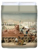 Statue Of Sekhmet Being Transported  Detail Of Israel In Egypt Duvet Cover by Sir Edward John Poynter