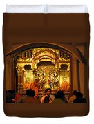 Statues Of Ram And Lakshman And Sita At The Iskcon Temple In Delhi Duvet Cover