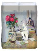 Statuette By Maillol And Red Roses Duvet Cover