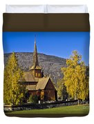 Stave Church In Lom Duvet Cover