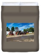 Steam Engines Lined Up Duvet Cover