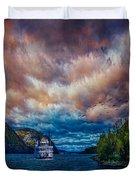 Steamboat On The Hudson River Duvet Cover
