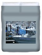 Steelhead And Fishing Boats Duvet Cover