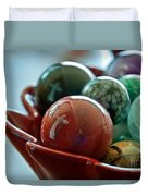 Still Life Crosses Reflected In Bowl Of Glass Marbles Art Prints Duvet Cover