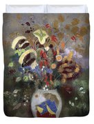 Still Life Of A Vase Of Flowers Duvet Cover by Odilon Redon