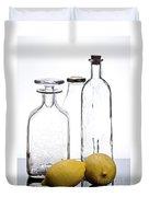 Still Life Of Bottles  And Lemons Duvet Cover