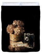 Still Life With Hydrangea And Camera Duvet Cover