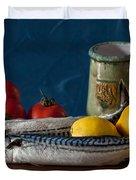 Still Life With Mackerels Lemons And Tomatoes Duvet Cover