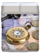 Still Life With Pocket Watch, Key Duvet Cover by Photo Researchers