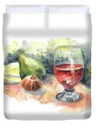 Still Life With Red Wine Glass Duvet Cover