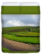 Stone Barn In A Fold Of The Landscape Duvet Cover