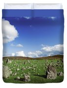 Stone Circles On A Landscape, Beaghmore Duvet Cover