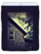 Stone House In Storm Duvet Cover