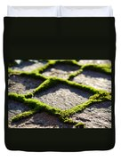 Stone Road With Green Moss Duvet Cover