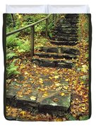 Stone Stairway In Forest, Cape Breton Duvet Cover
