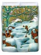 Stone Steps In Winter Duvet Cover