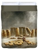 Stonehenge In Winter  Duvet Cover by Walter Williams