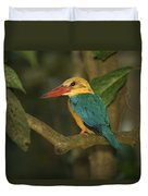 Stork-billed Kingfisher Perched Duvet Cover
