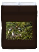 Storks Around A Nest Duvet Cover
