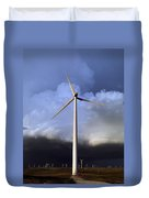 Storm Clouds And Wind Turbine Duvet Cover