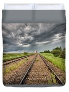 Storm Clouds Over Grain Elevator Duvet Cover
