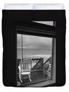 Storm-rocked Beach Chairs Duvet Cover